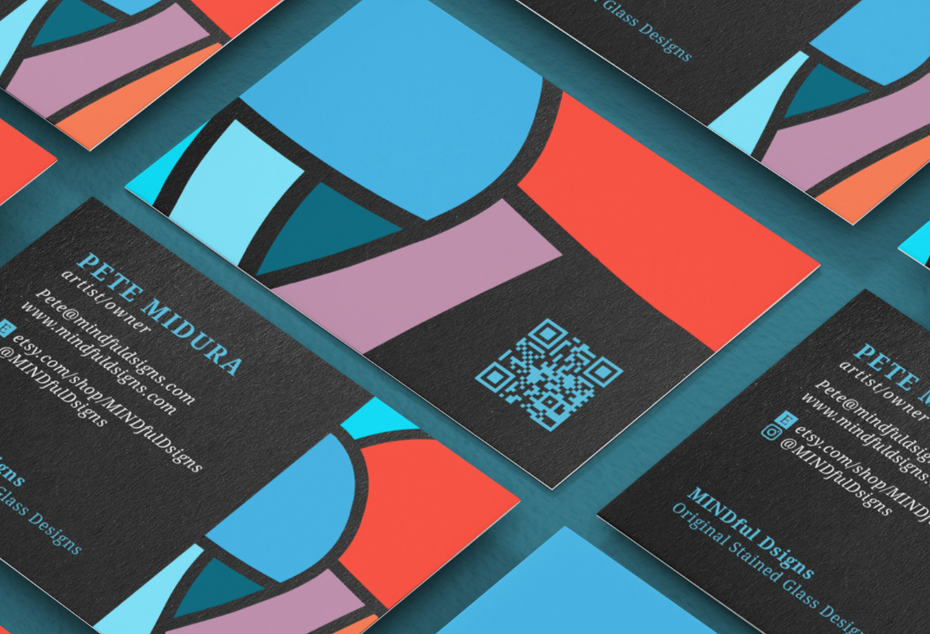 colorful business card design featuring a QR code