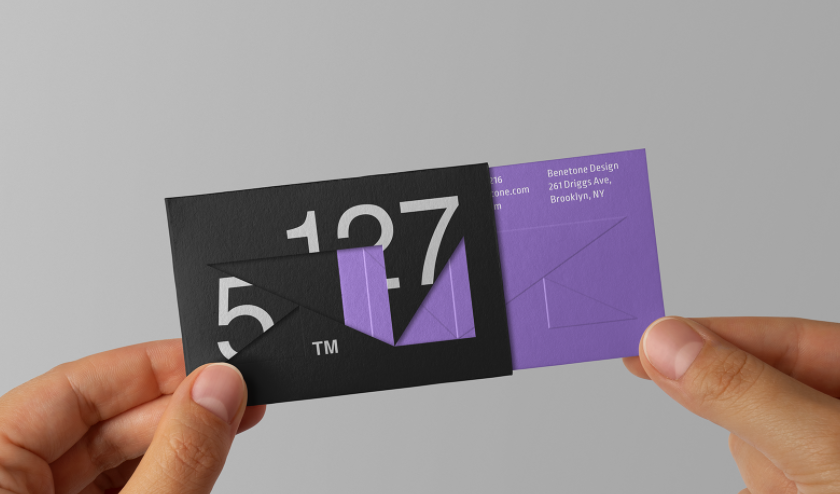 purple business card that slides into a black envelope