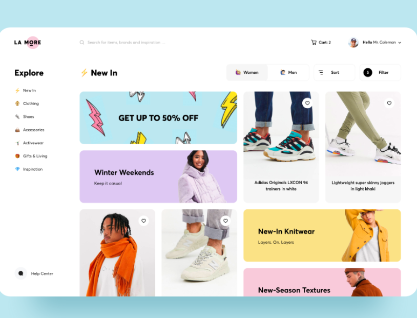 2021 ecommerce design trend example of pastel