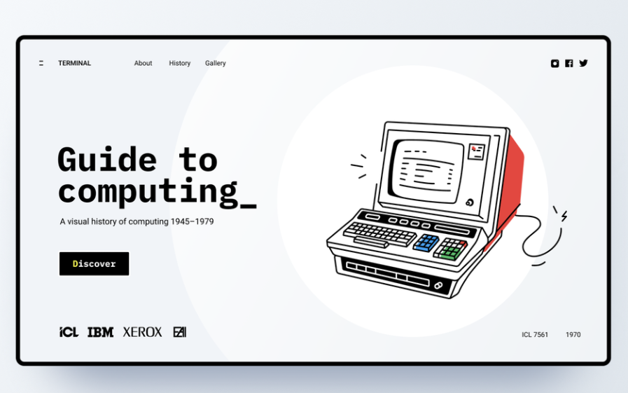 Minimalist retro style UX website header design