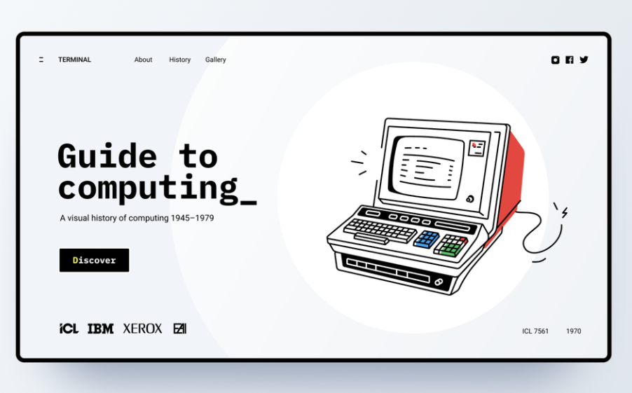 Minimalist retro style UX website header design