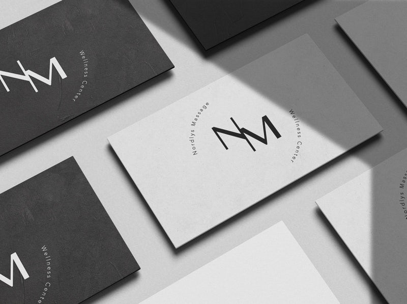 black and white business card with bold text