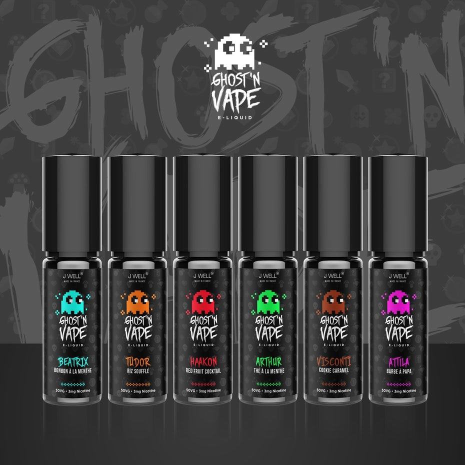 set of vape liquids with retro video game ghosts on them