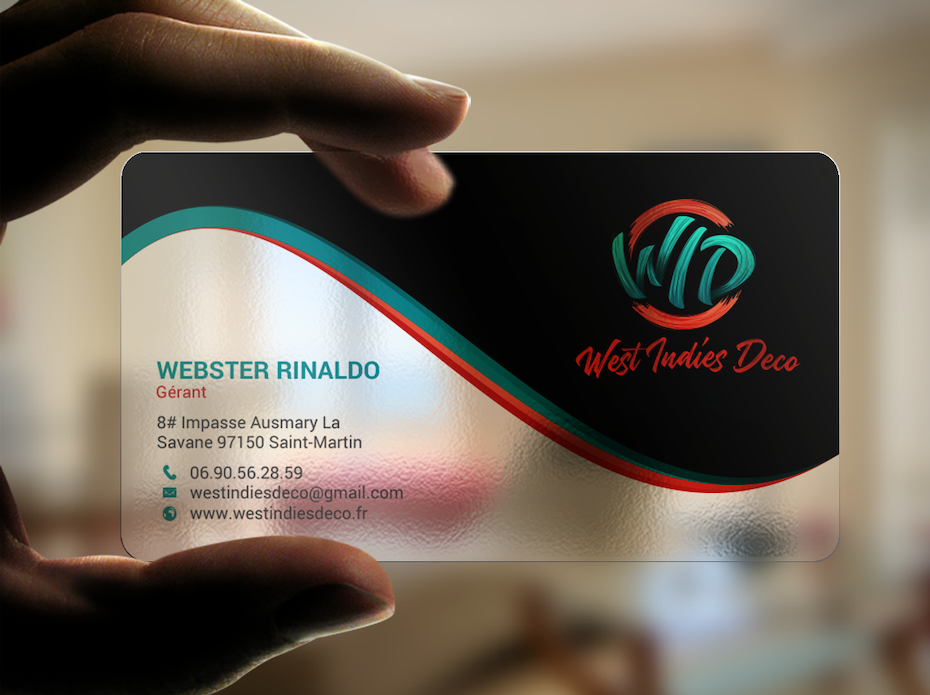 translucent business card with a dark gray section with red and green in the design