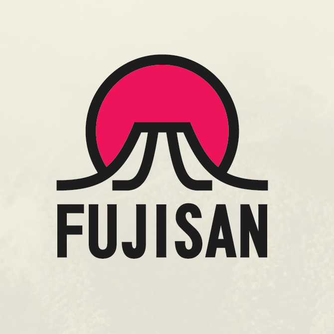 red, black and white logo depicting Mt. Fuji and the rising sun