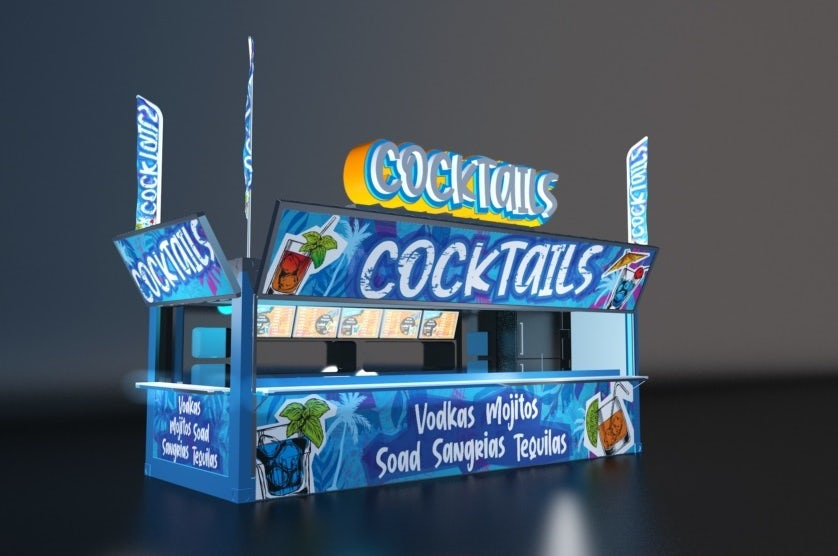 Mockup of a boldly colored cocktail stand