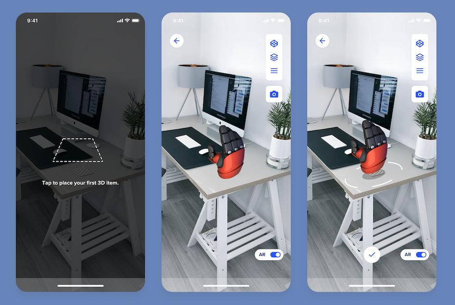 Camera AR app for 3D modelling