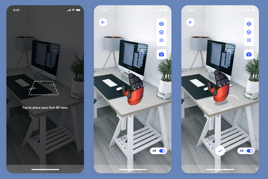 Camera AR app for 3D modelling