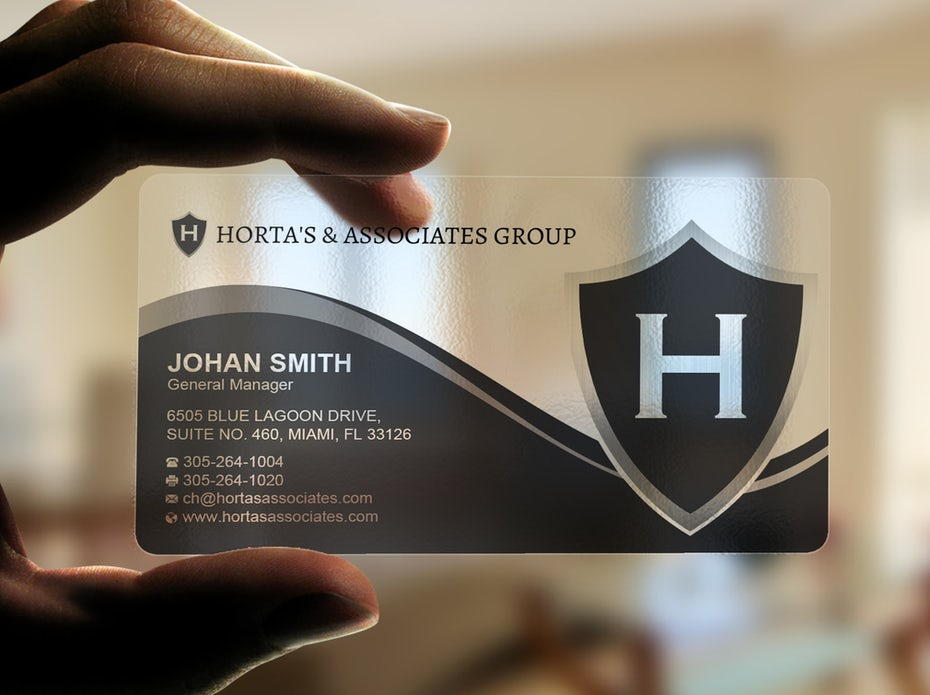 translucent business card with gray design