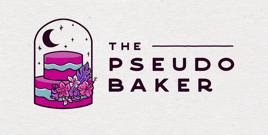 logo options showing a cake in shades of purple and pink