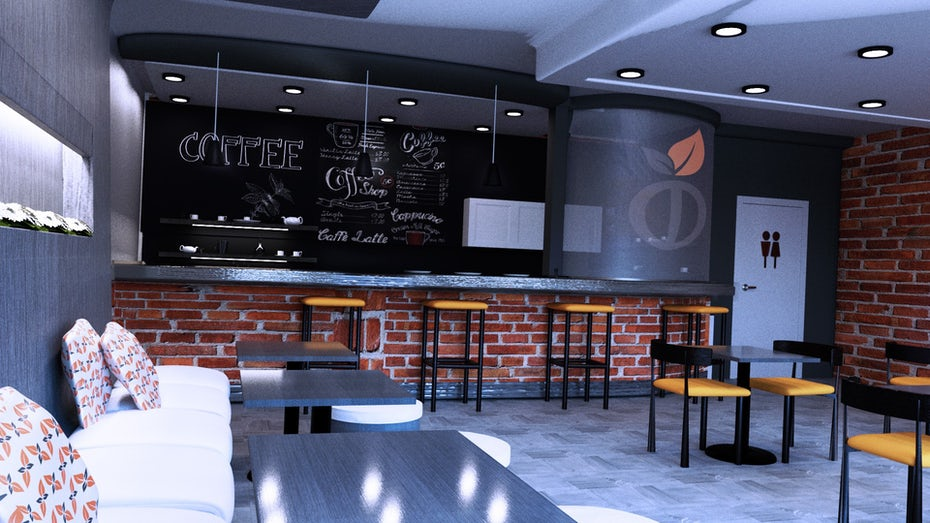 3D render of a coffee shop interior