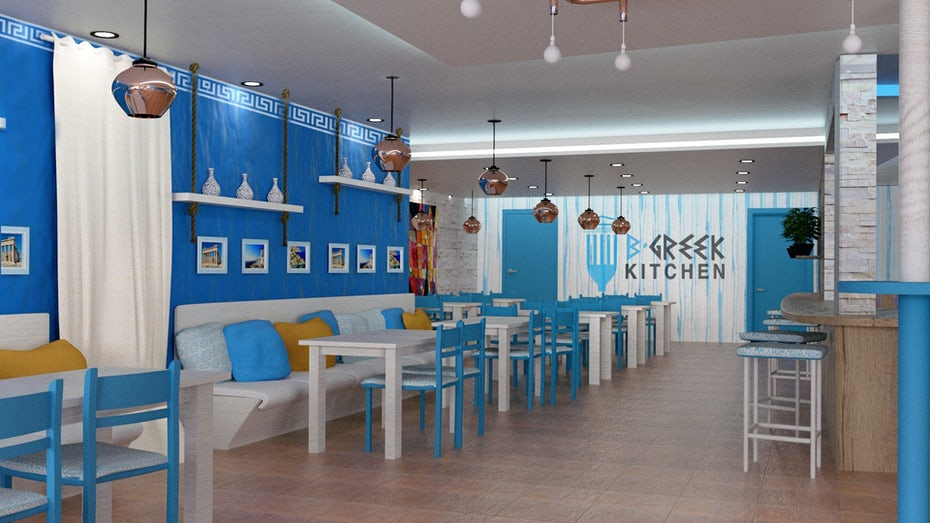 3D render of a Greek restaurant in blue and white