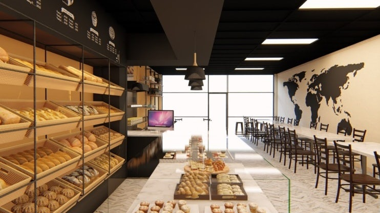 3D render of a bakery interior