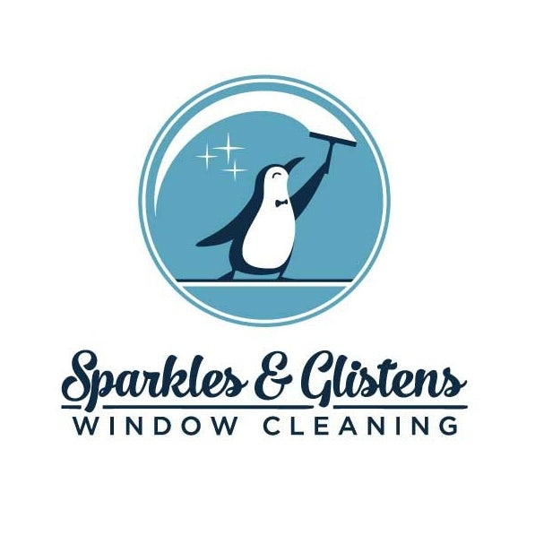 window cleaning logo showing a penguin