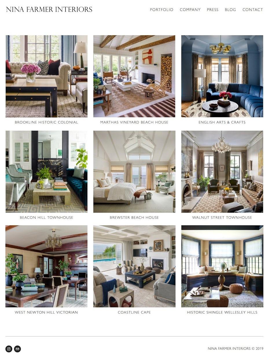 interior designer online portfolio landing page and navigation