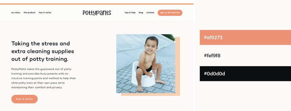 pale peach and black website color scheme