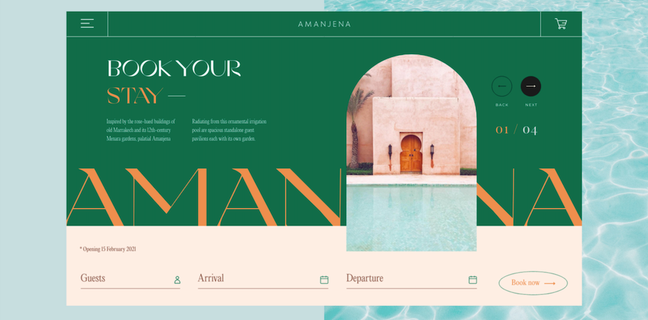 Hotel website in pastel colors