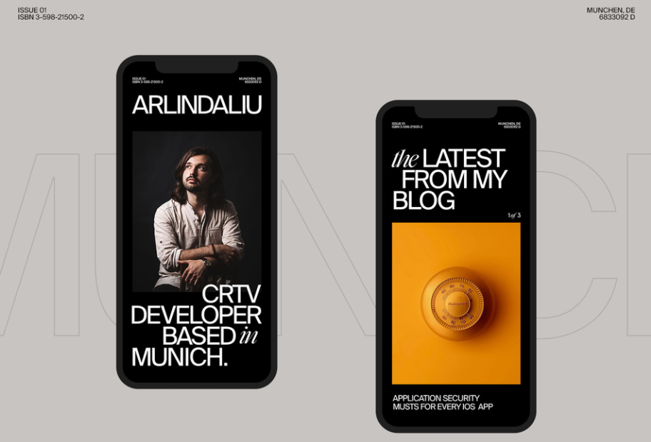 Creative agency's online portfolio mobile device