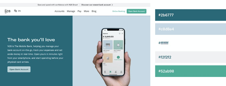 Teal and white website color scheme