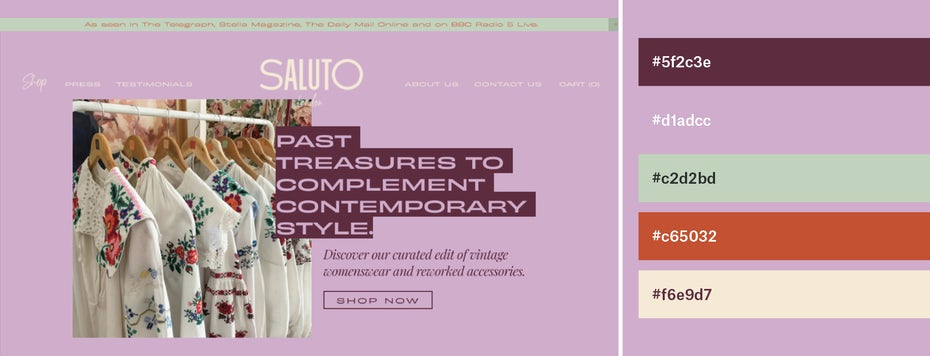 Mauve, green and orange website color scheme