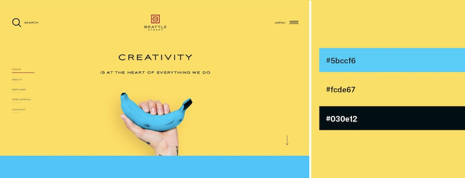 Lemon yellow and neon blue website color scheme