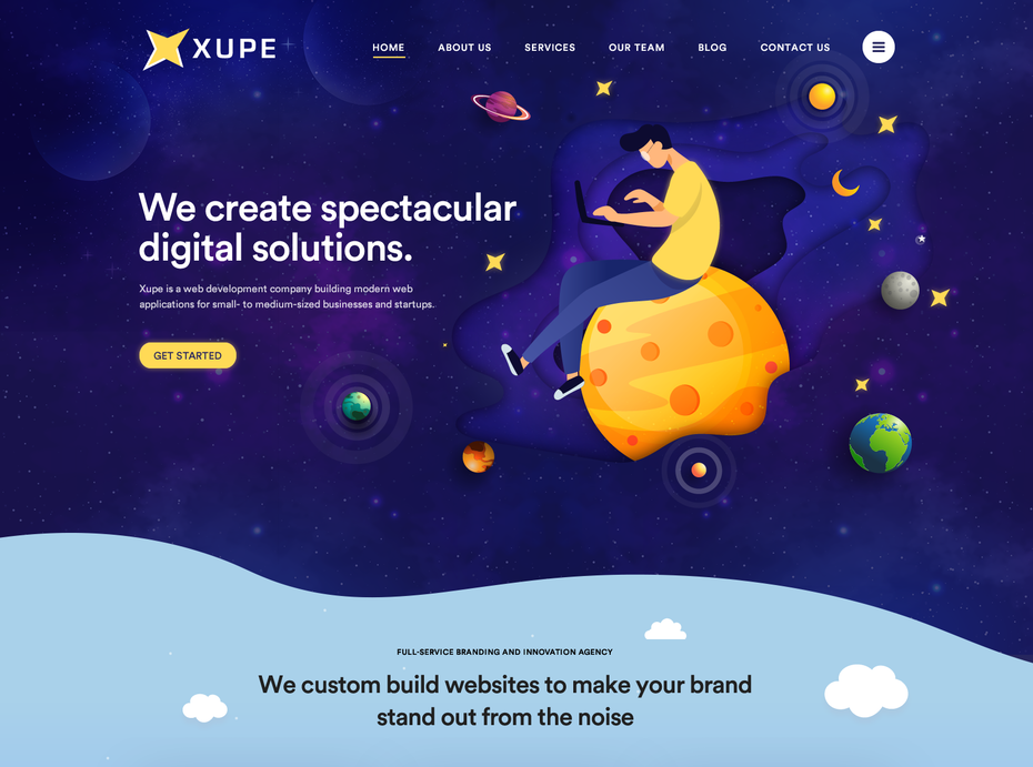 web design with moon illustration