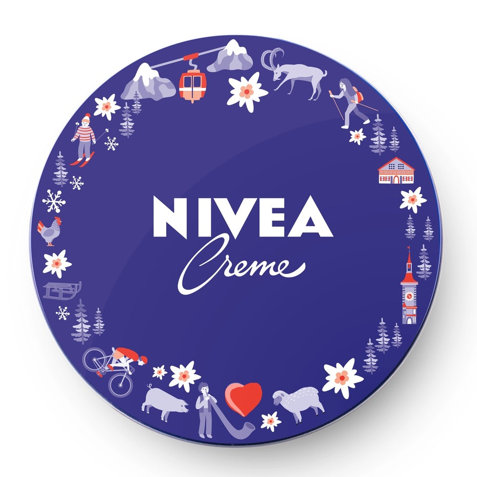nivea logo design framed with illustrations