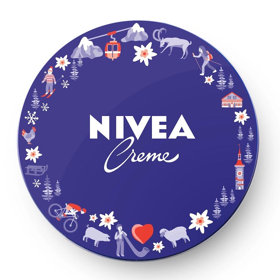 nivea logo design framed with illustrations