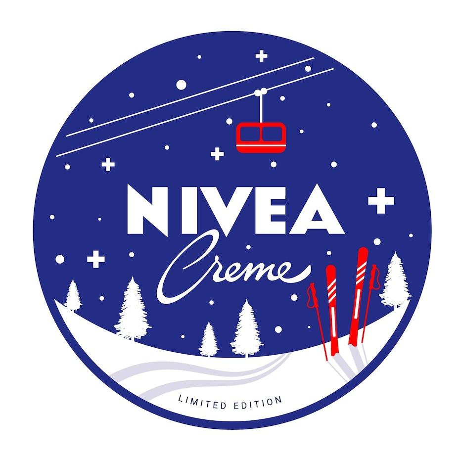 尼维亚徽标设计的滑雪场景