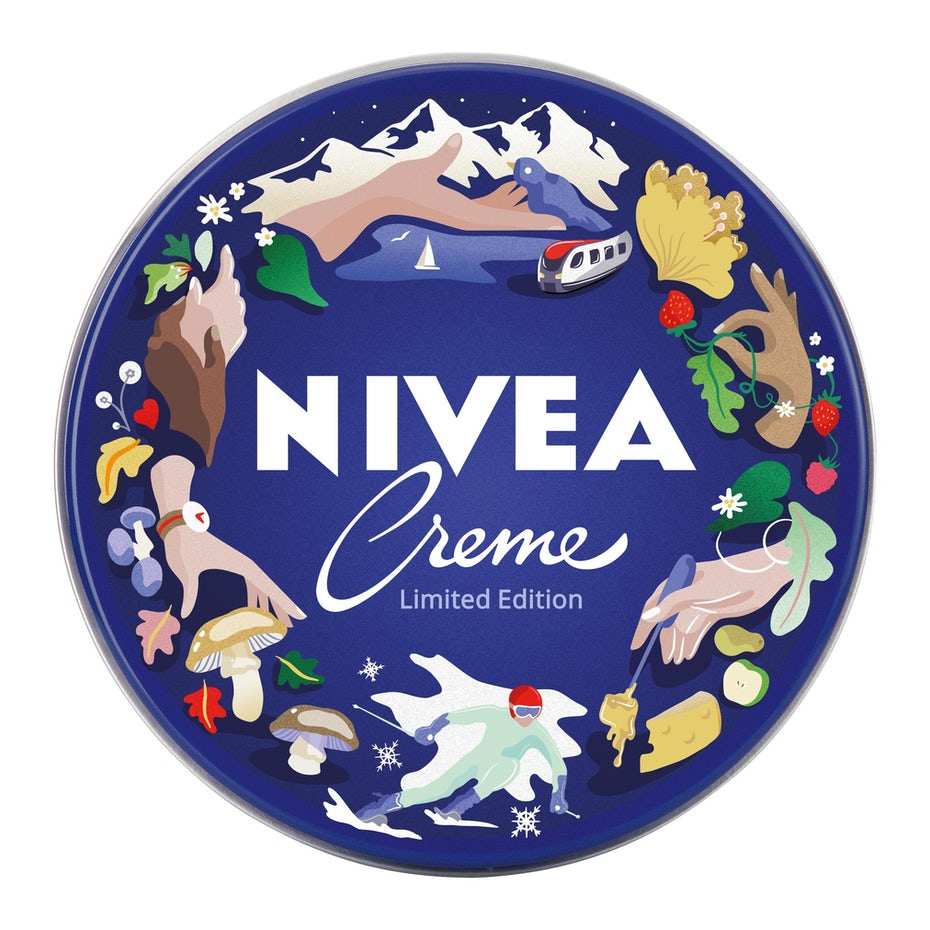 nivea logo design of camping framed with illustrations