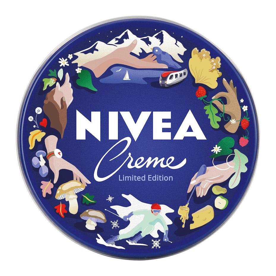 nivea logo design of camping framed with illustrations