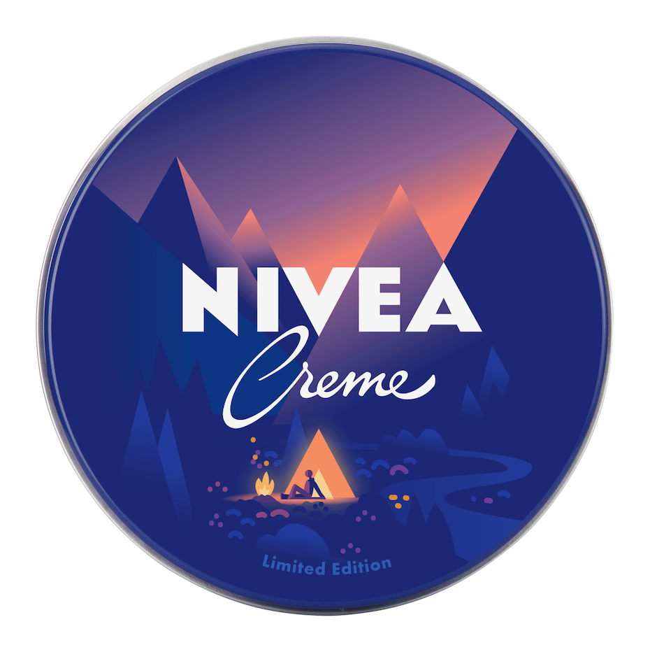 vea logo design of camping with gradient effect