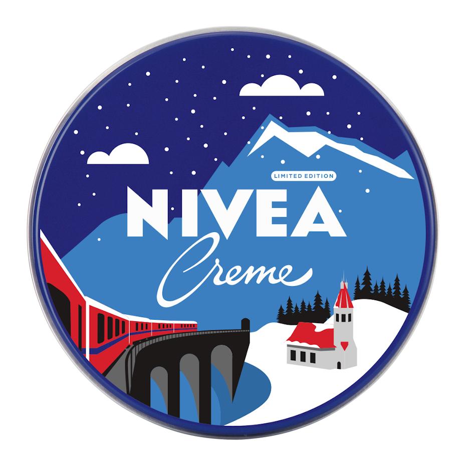 nivea logo design of winter scene and mountain
