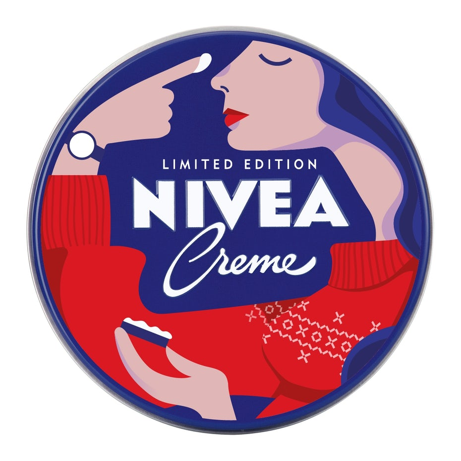 Nivea logo with a woman applying creme
