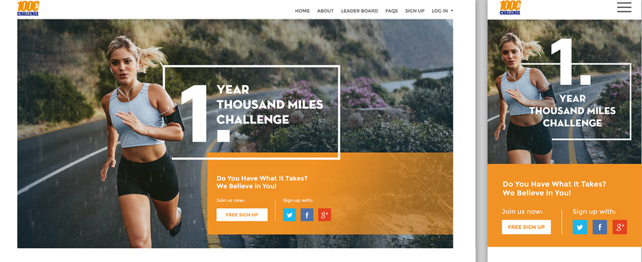 1000 Challenge website design