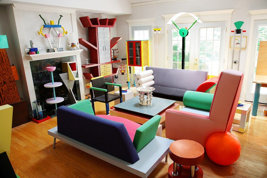 Memphis design furniture showroom from the 1980s