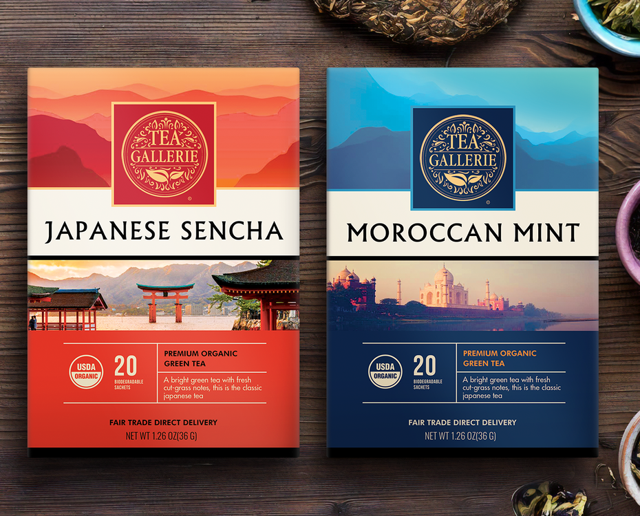 two tea boxes side by side, one blue with Moroccan mint and one red with Japanese sencha