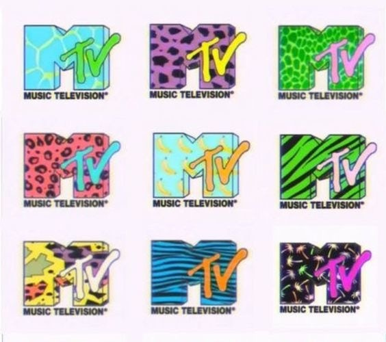 Variations of the 1980s MTV logo with Memphis patterns