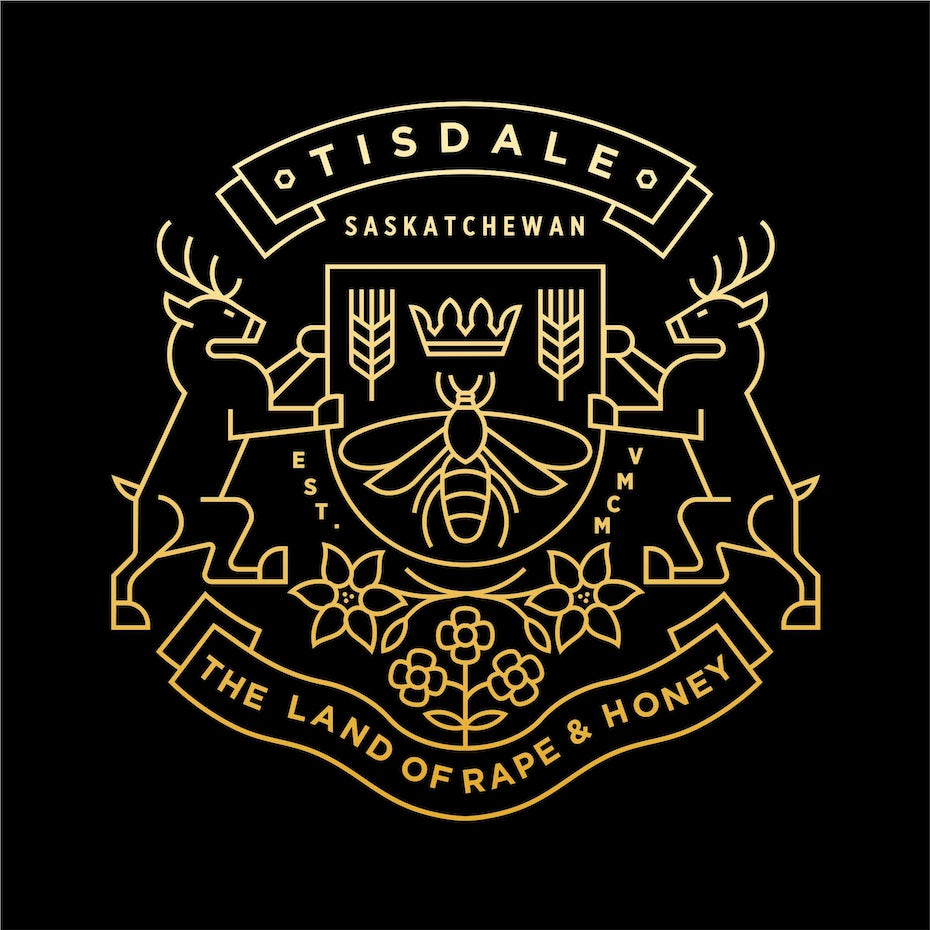 Monoline coat of arms style logo for t-shirt