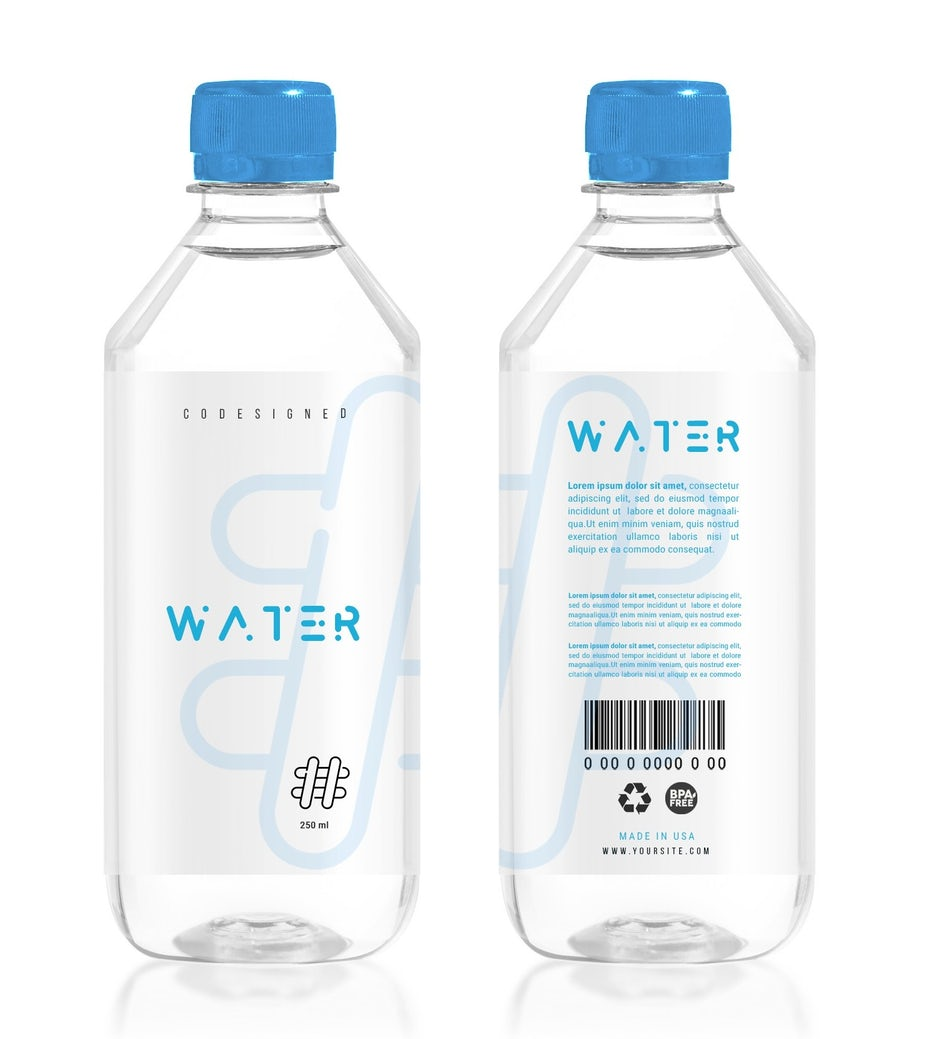 two clear water bottles side by side with minimalist text