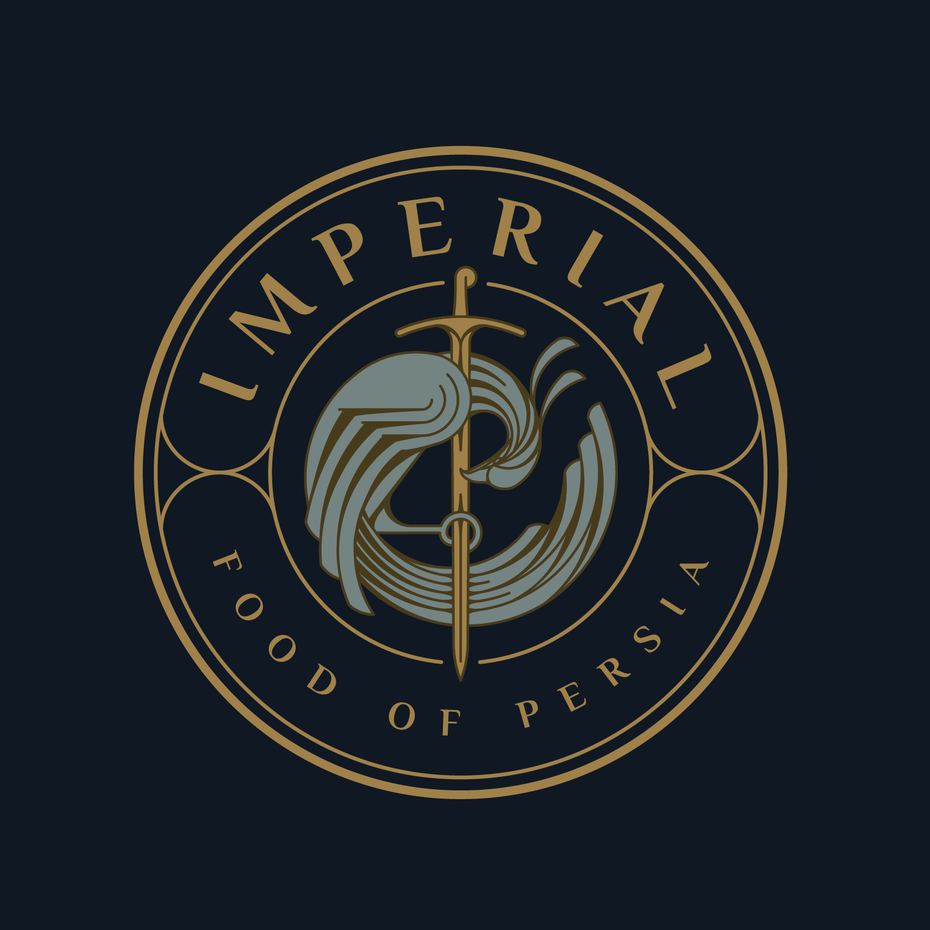Medieval style logo of a bird with a sword