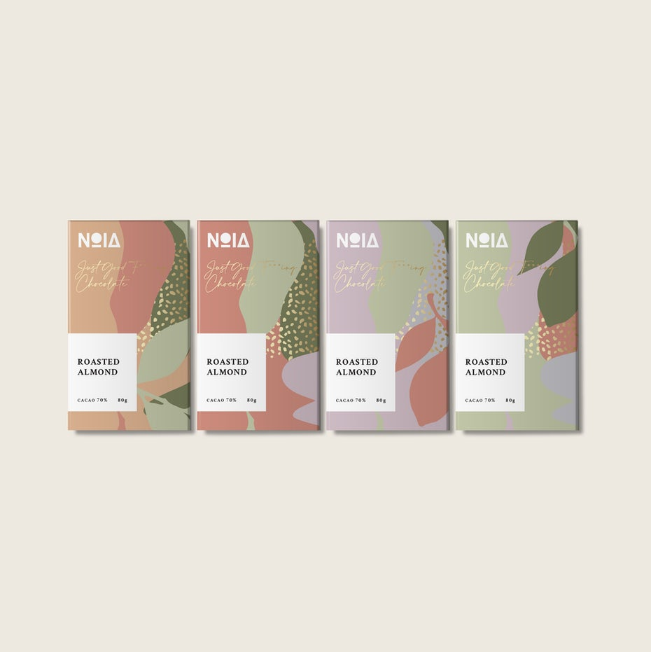 Chocolate bar packaging design with abstract, organic Memphis shapes