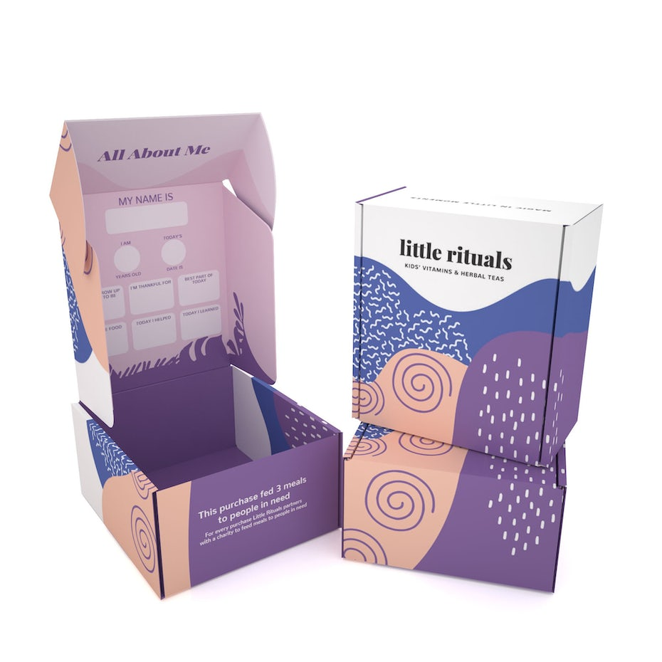 Box packaging design with abstract, organic Memphis shapes