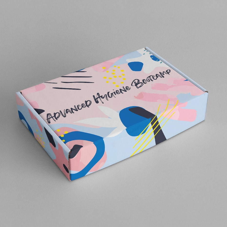 Packaging design with painting style memphis pattern
