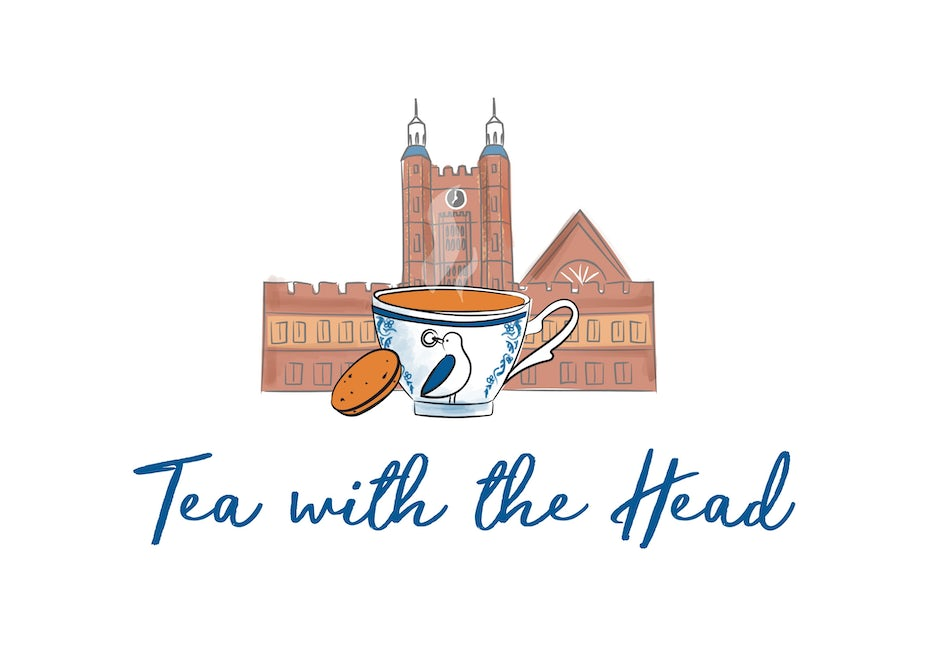 illustrated logo showing a cup of tea with a bird on it set in front of a school