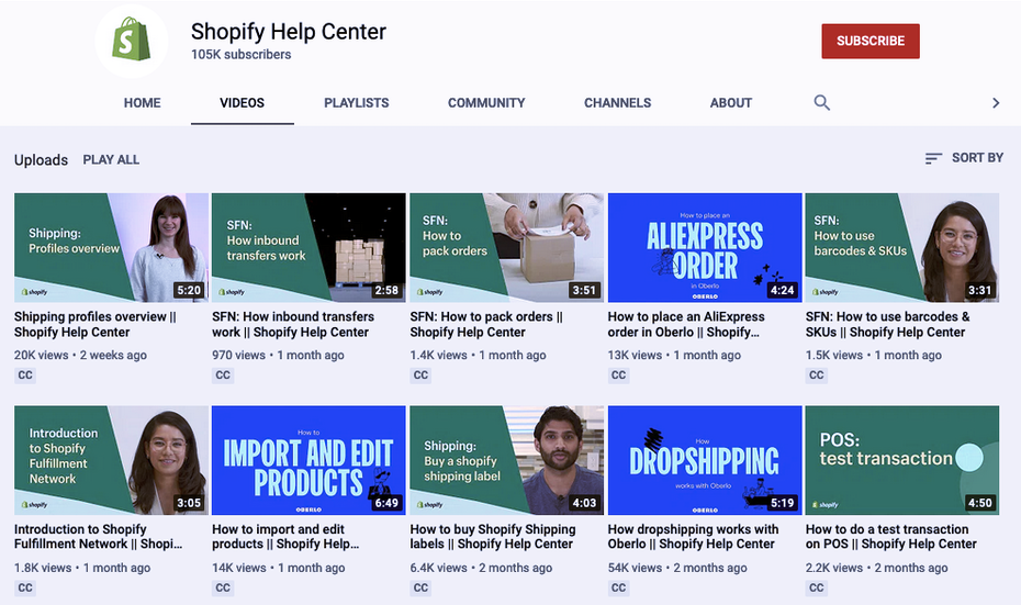 Shopify tutorials on Shopify's YouTube channel