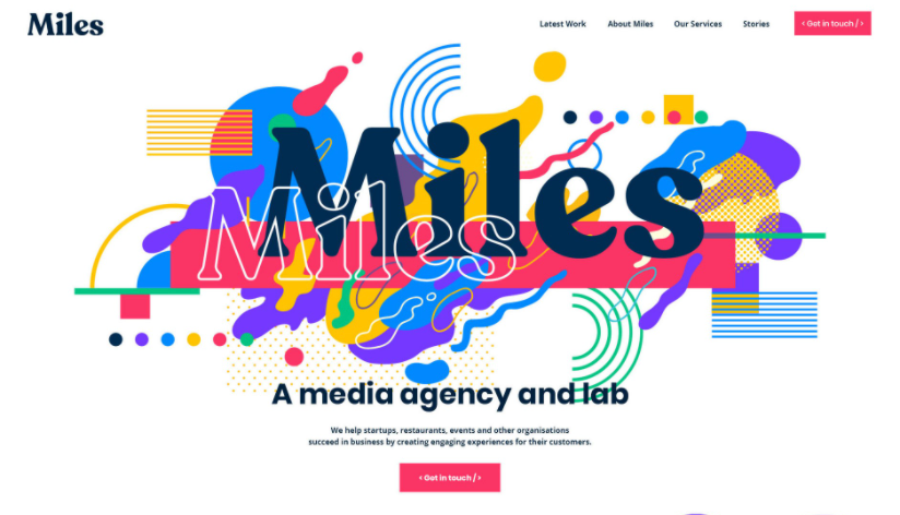 Website design with Memphis style background in the header