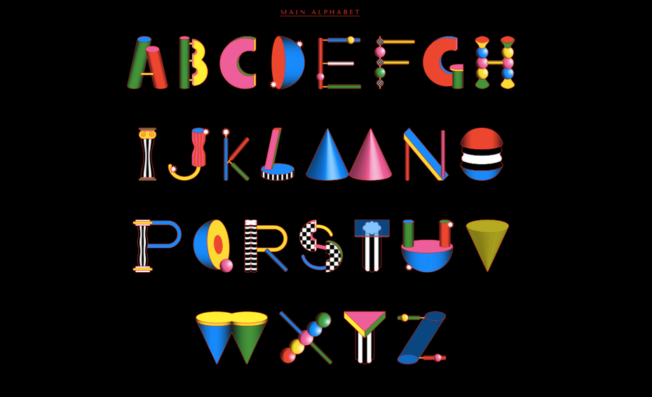 memphis design alphabet