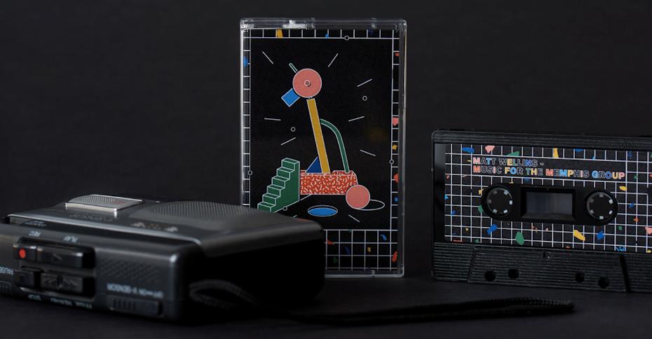 Design de cassette audio inspiré par le style Memphis