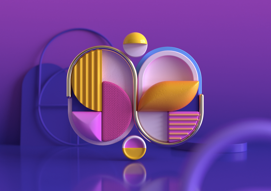 Un design d'inspiration Memphis avec des textures 3D